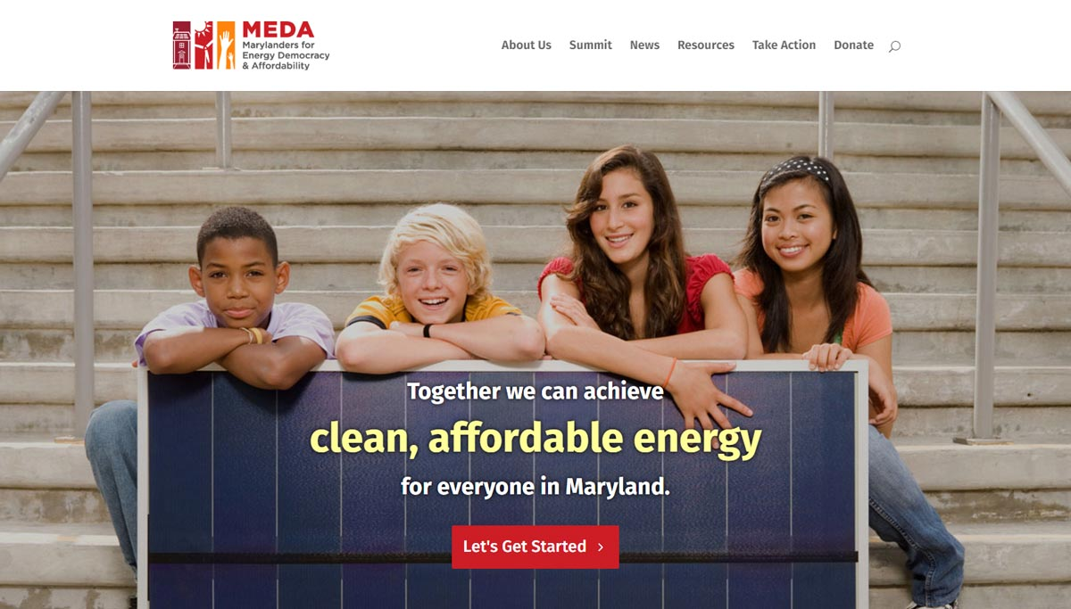 MEDA: Marylanders for Energy Democracy and Affordability website homepage