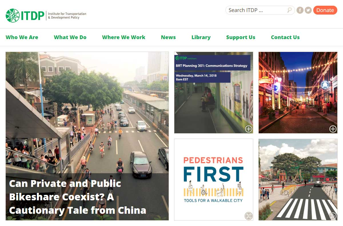 ITDP: The Institute for Transportation and Development Policy website homepage