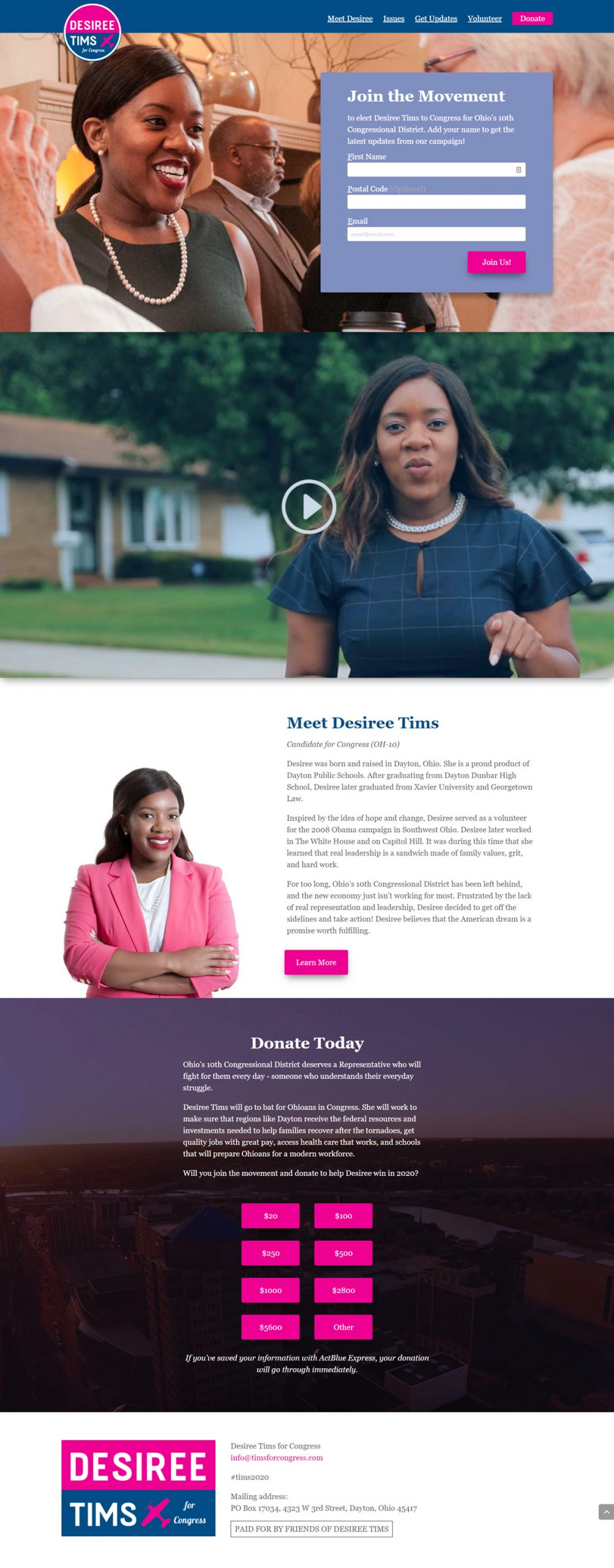 Tims for Congress homepage design